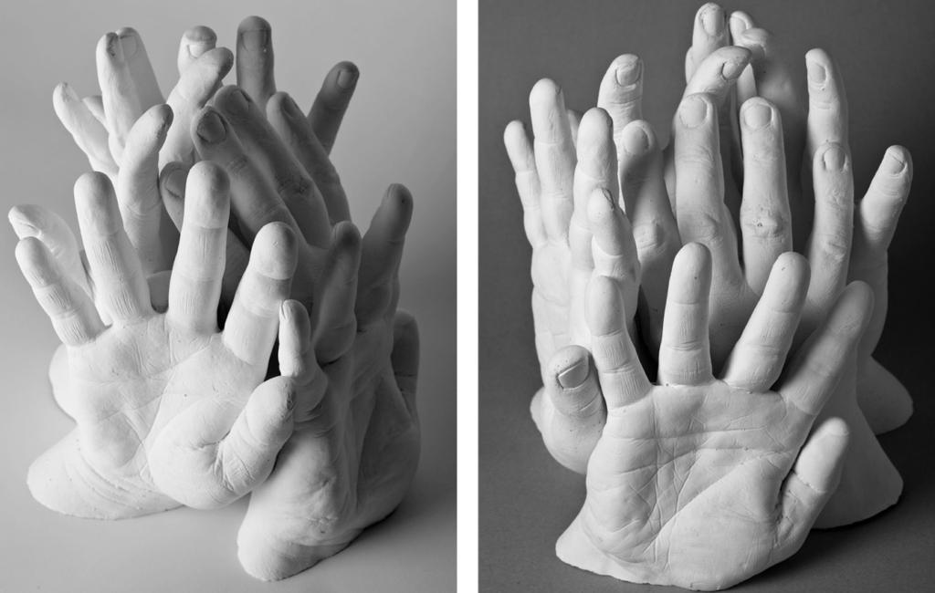 zwei Fotos: abgeformte Hände der Kölner Bauarbeiter