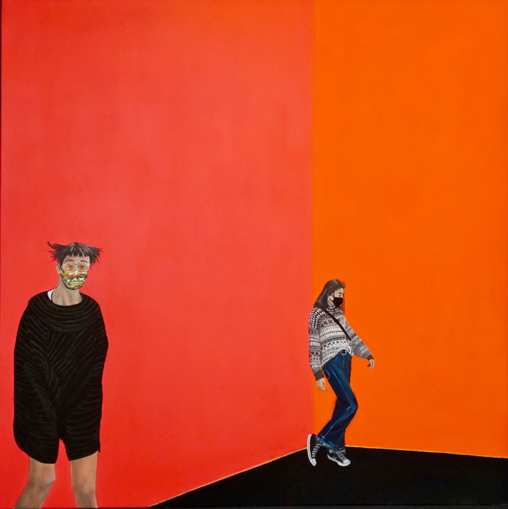 Foto des Gemäldes »Besuch mit Mundschutz«
