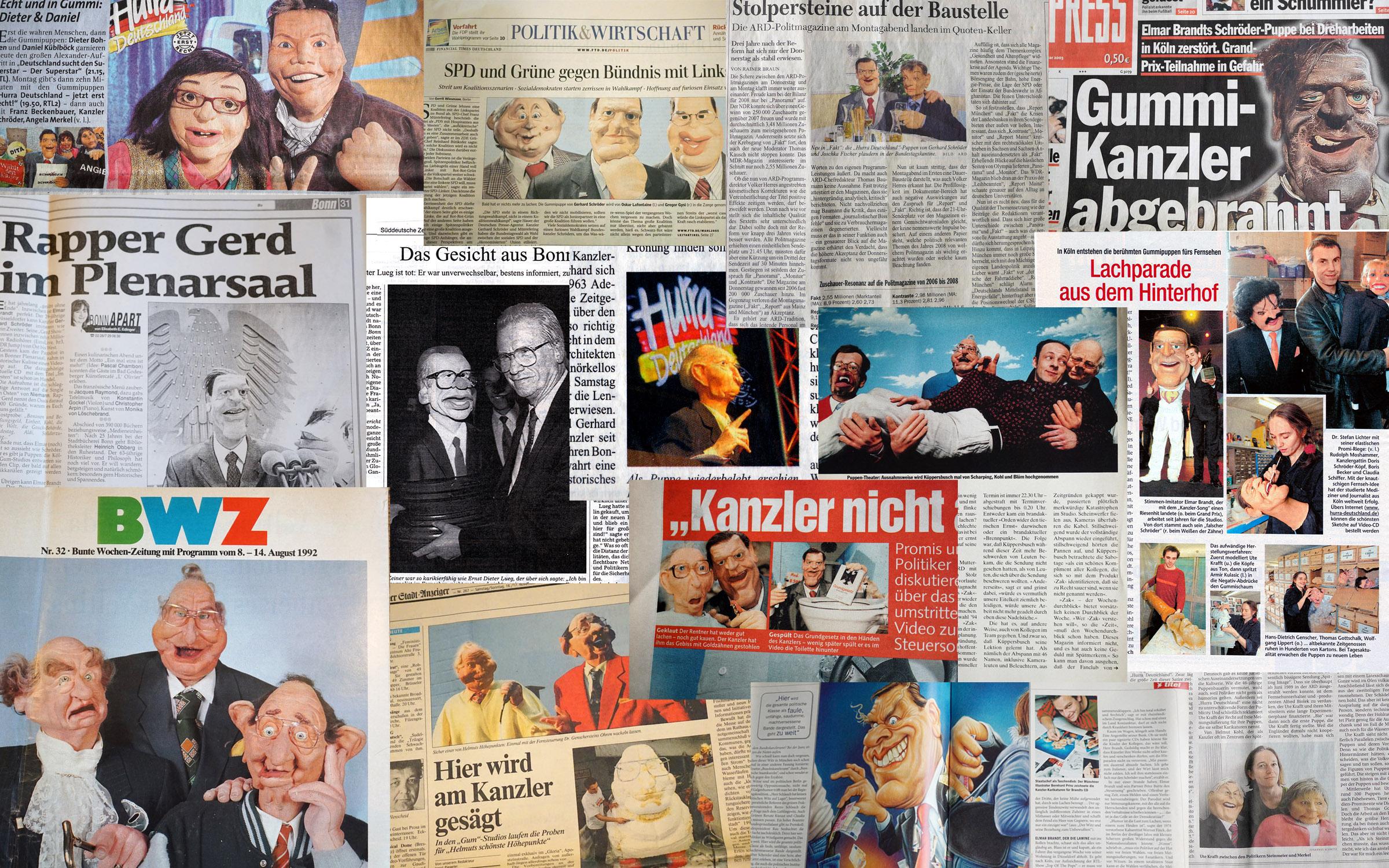 Collage aus Presseartikeln zu Hurra Deutschland
