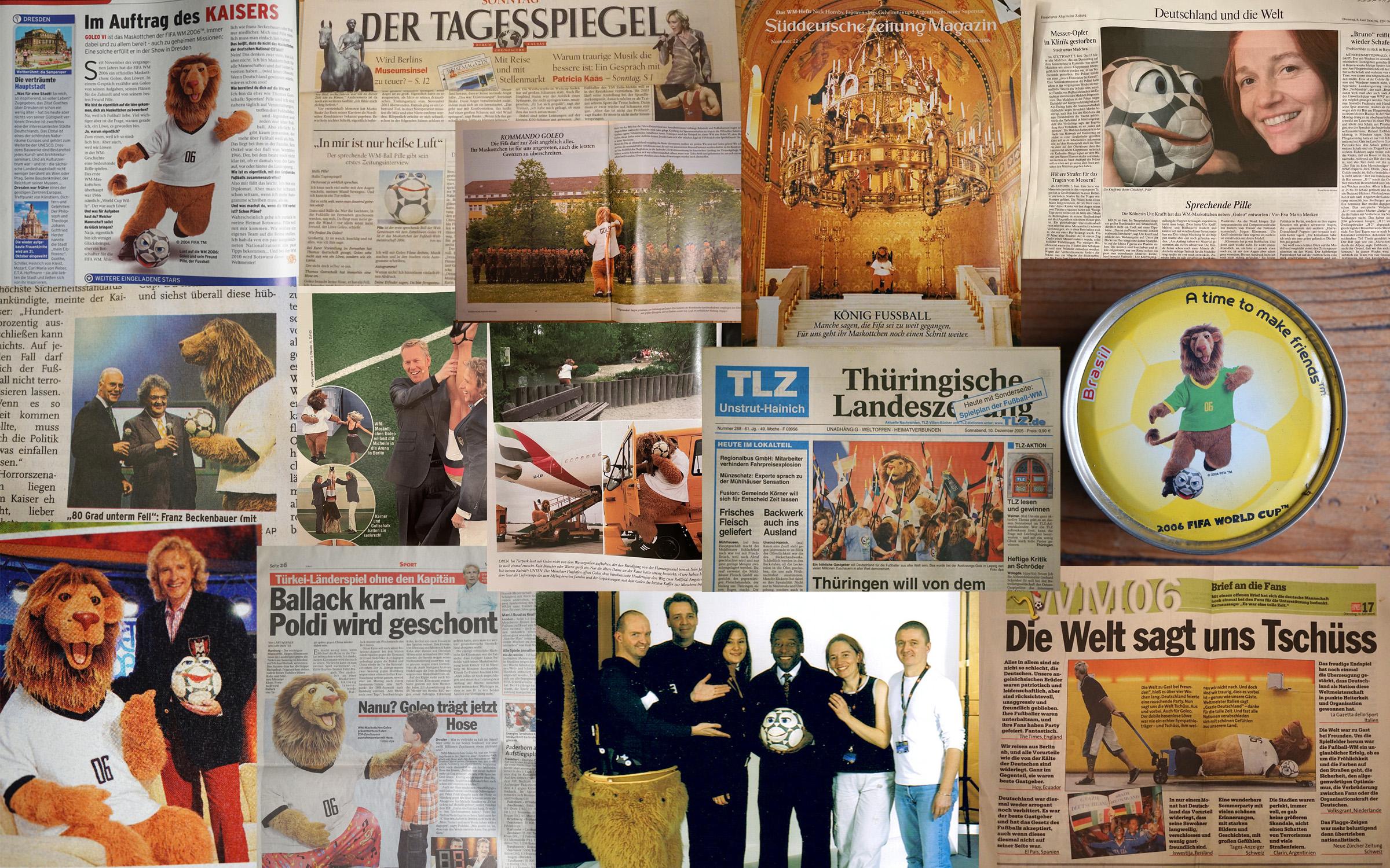 Collage aus Presseartikeln zu Pille und Goleo